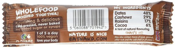 Ingredients of a Nakd bar
