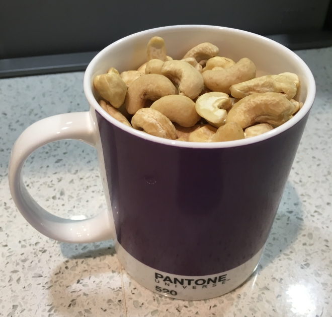 Cup of cashew nuts